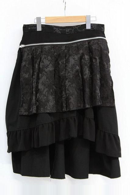 h.naoto Blood / ローズジャガードフラップ付きスカート