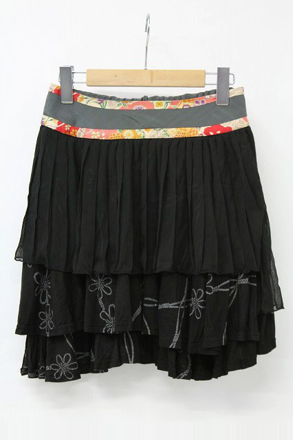 gouk / 花結びプリント切替スカート